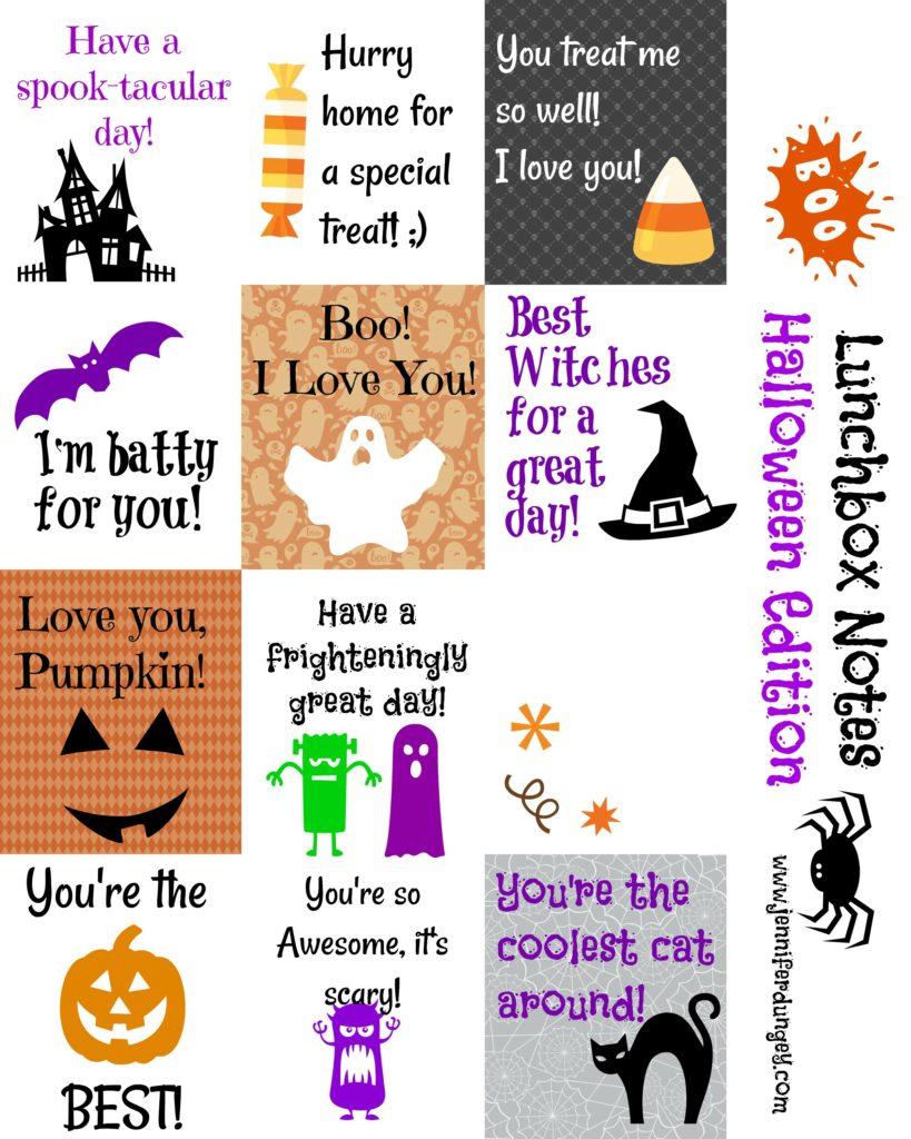graphic relating to Free Printable Lunchbox Notes for Husband identified as No cost Halloween Lunchbox Notes! - Jennifer Dungey
