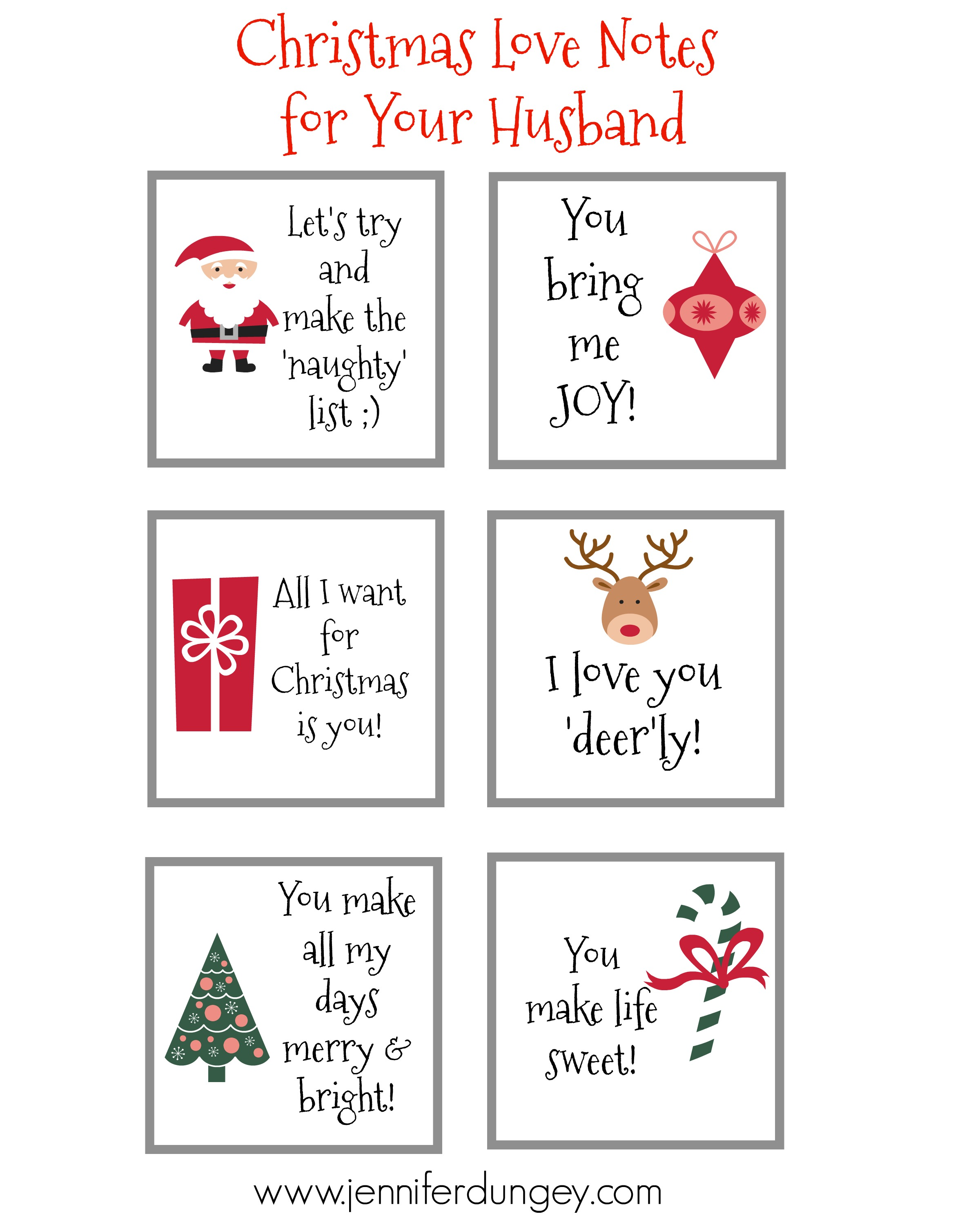 Christmas Love Notes for Your Husband {Free Printable}! - Jennifer ...